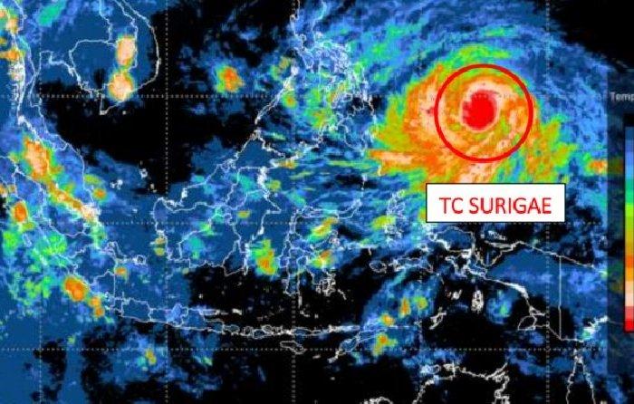 Warning of Typhoon Surigae