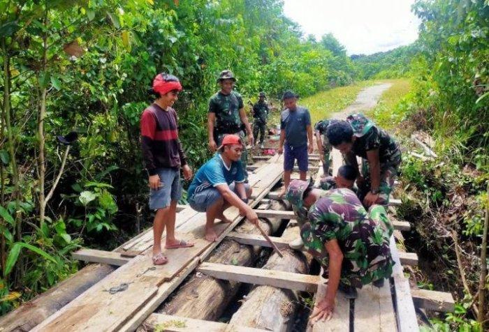 Bridge repair work by soldier