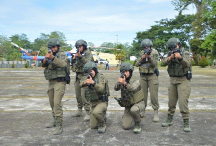 Six women Brimob officers
