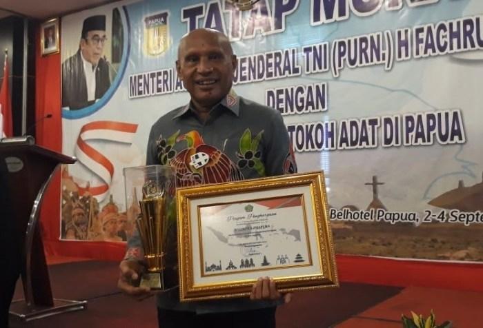 The Mayor of Jayapura Benhur Tomi Mano received the Religious harmony in Papua